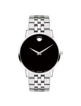 Movado Men's Museum 40mm Steel Bracelet & Case Sapphire Crystal Quartz Black Dial Analog Watch 0607199 by Movado