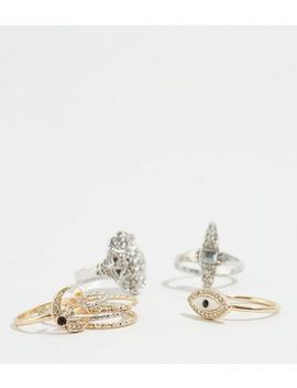 8 Pack Gold And Silver Mystical Stacking Rings by New Look