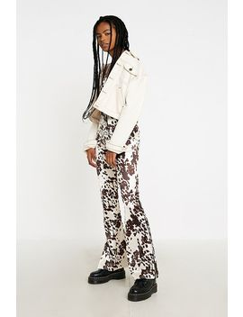 Uo Cow Print Satin Flare Trousers by Urban Outfitters