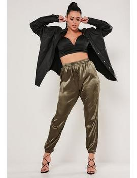 Plus Size Khaki Satin Tapered Joggers by Missguided