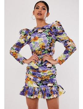 Purple Floral Ruched Puff Sleeve Mini Dress by Missguided