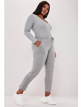 Plus Size Grey Marl Soft Touch Joggers by Missguided