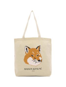 Off White Fox Head Tote by Maison KitsunÉ