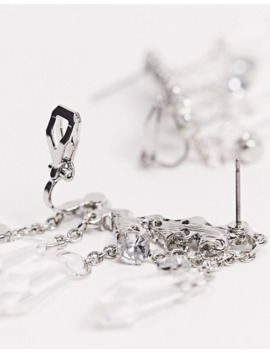 Asos Design Ear Crawlers With Crystal And Faceted Bead Drops In Silver Tone by Asos Design