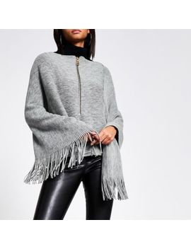 Grey Asymmetric Zip Front Knitted Cape by River Island
