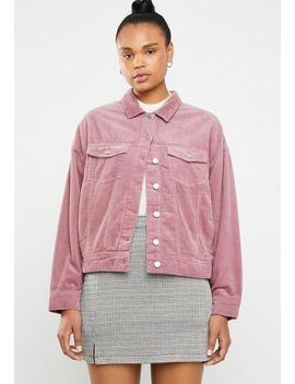 Elya Oversize Corduroy Jacket   Pink by Jacqueline De Yong
