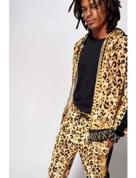 Velvet Leopard Chains Hoodie With Metallic Rib by Jaded London