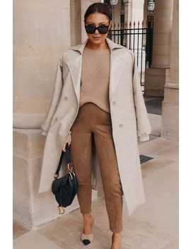 Lorna Luxe Camel 'contour' Suede Look Leggings by In The Style