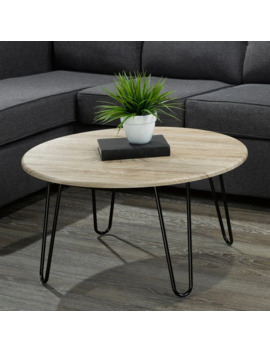 Tario Faux Wood/Metal Coffee Table   Natural Finish   Black by Generic