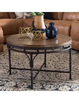 Carbon Loft Cohn Antique Bronze Finish Iron Base Industrial Round Table by Carbon Loft