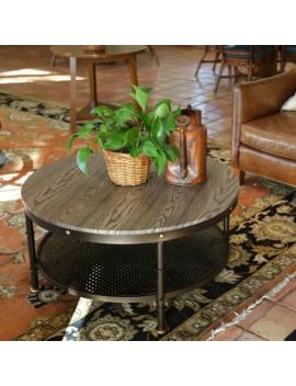 "Deford Walnut Elegant Round Ø35.75""X17.75""H Wood/Metal Coffee Table by Generic"