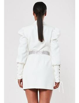 Peace + Love Ivory Embellished Belt Blazer Dress by Missguided