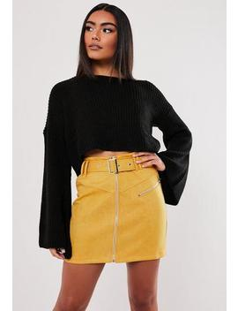 Mustard Faux Suede Buckle Detail Mini Skirt by Missguided