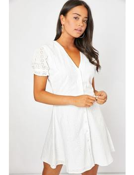 Dani Dyer White Broderie Anglaise Button Down Dress by In The Style