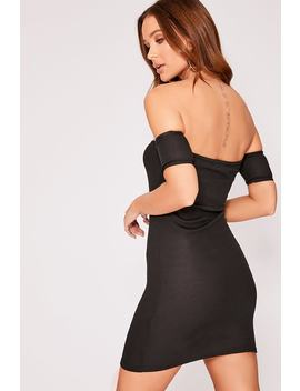 Black Ribbed Horn Button Bardot Dress by In The Style
