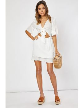 White Tie Textured Frill Hem Skater Dress by In The Style