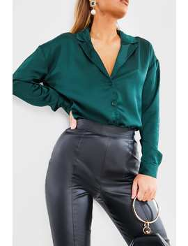 Jade Green Satin Button Down Shirt by In The Style
