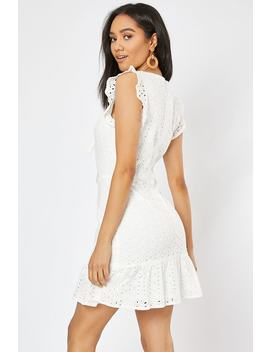 White Broderie Anglaise Tie Front Frill Mini Dress by In The Style