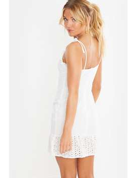 White Broderie Anglais Tie Shoulder Mini Dress by In The Style