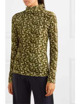 Brenda Floral Print Stretch Velvet Turtleneck Top by Dodo Bar Or