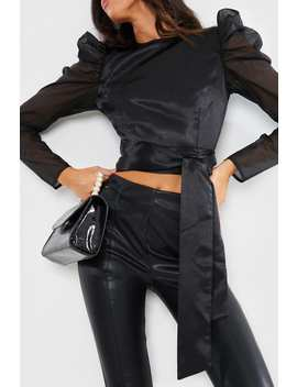 Lorna Luxe Black 'hero' Satin Blouse by In The Style