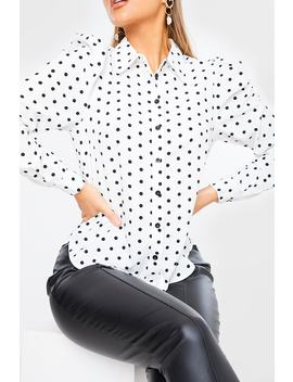 White Polka Dot Ruched Puff Sleeve Shirt by In The Style