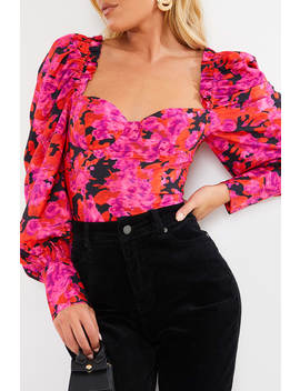 Fashion Influx Pink Floral Print Frill Detail Puff Sleeved Corset Top by In The Style