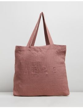 Oversized Embroidered Linen Tote Bag by Aere