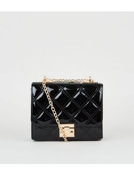 Black Quilted Patent Chain Strap Mini Bag by New Look