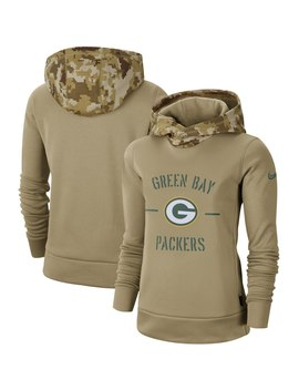 Green Bay Packers Nike Women's 2019 Salute To Service Therma Pullover Hoodie   Khaki by Nike
