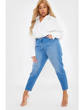 Curve Leo Blue High Waist Mom Jeans by In The Style
