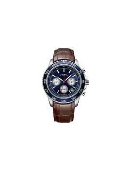 Rotary Men's Brown Leather Strap Chronograph Watch810/0232 by Argos