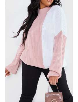 Curve Dani Dyer Pink And White Colour Block Knit Jumper by In The Style