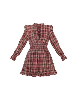 Red Check Print Shirred Waist Shirt Dress by Prettylittlething