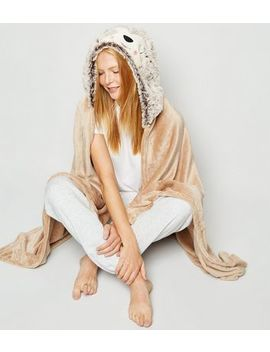 Brown Fluffy Sloth Slanket by New Look