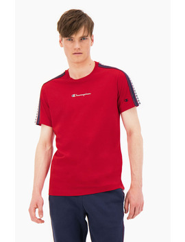 Stripe C Logo Tape Sleeve T Shirt by Champion