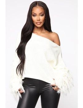 Cozy Fringe Sweater   Ivory by Fashion Nova