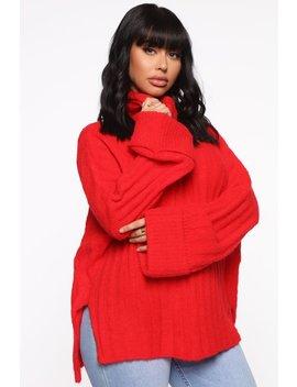 Warm Like My Personality Sweater   Red by Fashion Nova