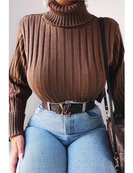 Khaki Wide Rib Roll Neck Jumper   Joyanna by Rebellious Fashion