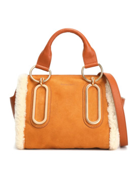 Paige Shearling Trimmed Suede And Pebbled Leather Shoulder Bag by See By ChloÉ