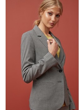 Black/White Monochrome Check Single Breasted Jacket by Next