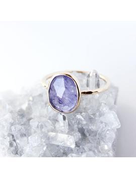Rose Cut Tanzanite 14k Gold Ring, December Birthstone, Solitaire, Tanzanite Engagement Ring, Birthstone Ring, Custom, Asymmetrical, Blue by Etsy