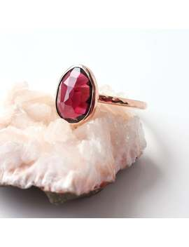 Rose Cut Rhodolite Garnet 14k Gold Ring, January Birthstone, Red Garnet Engagement Ring, Birthstone Engagement Ring, Red Garnet Gold Ring by Etsy