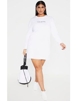 Prettylittlething Plus White Long Sleeve T Shirt Dress by Prettylittlething