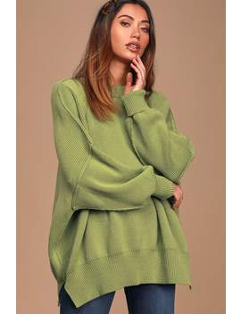 Easy Street Green Oversized Tunic Sweater by Free People