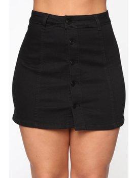 Easy A Line Denim Mini Skirt   Black by Fashion Nova