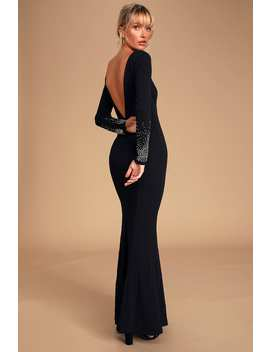 Absolutely Perfect Black Rhinestone Backless Maxi Dress by Lulus