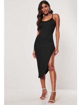 Black Asymmetric Split Hem Midi Dress by Missguided