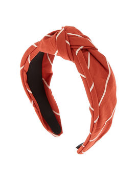 Striped Knotted Headband   Rust by Claire's
