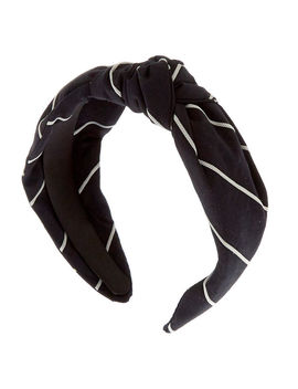 Striped Knotted Headband   Black by Claire's